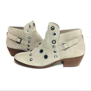 Sam Edelman Pedra Grommeted Suede Leather Booties